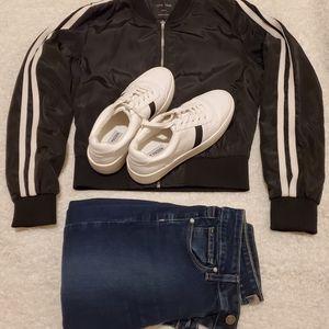 Love Tree black white stripe zipper jacket